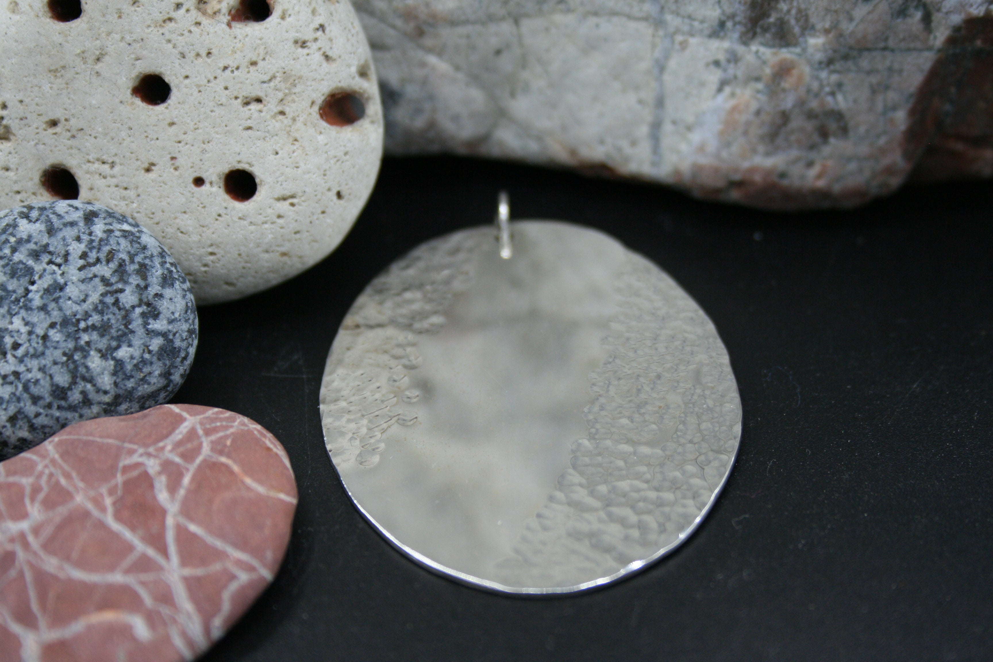 Sterling Silver Pendant. Oval sheet part hammered finish and part polished 55mm x 42mm x1mm
