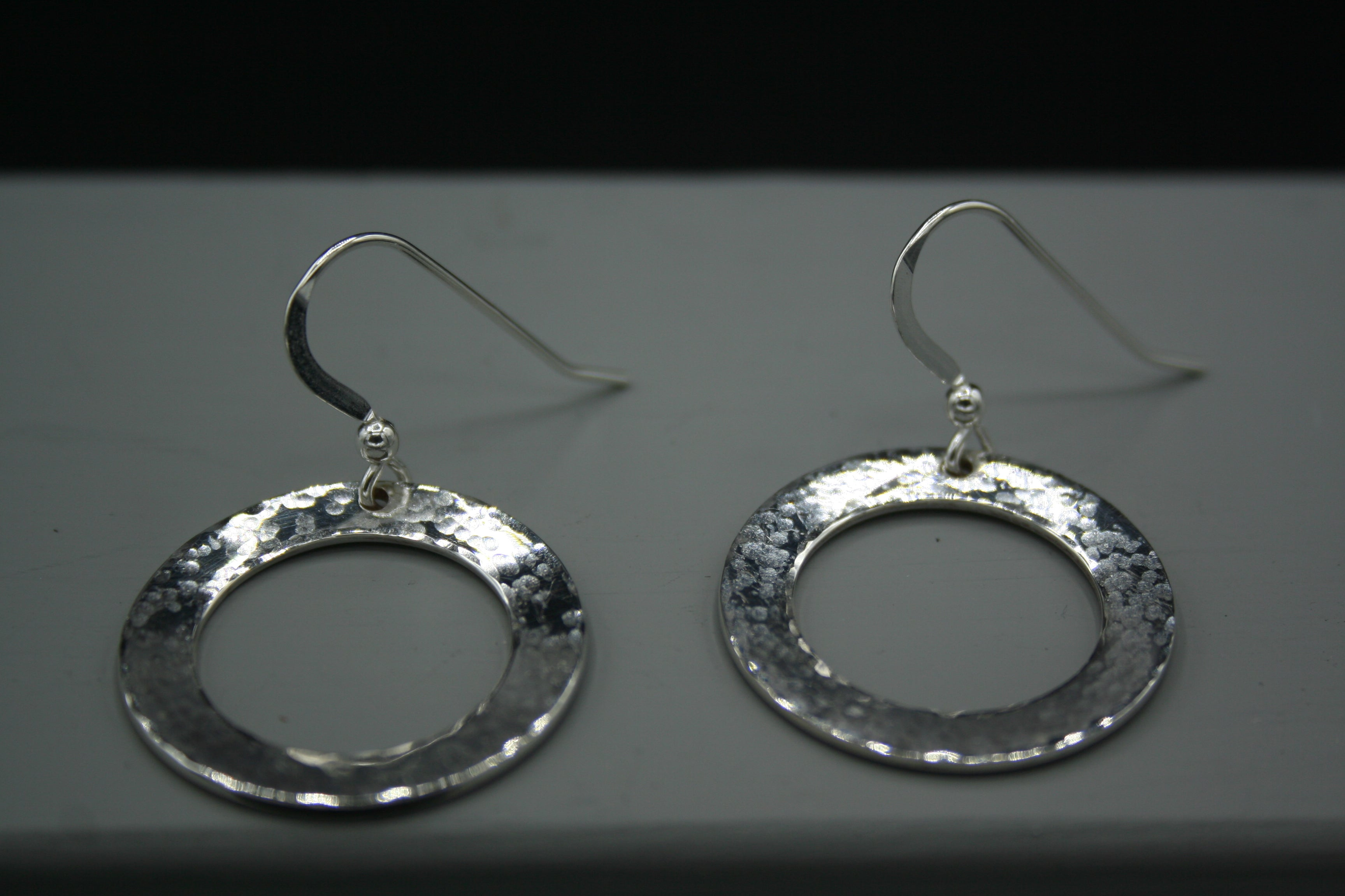 Sterling Silver disc drop earrings on wires 20mm diameter