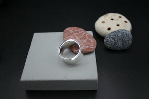 "Sterling Silver Ring. Flat polished finish 10mm x 2mm. Size ""Q"""