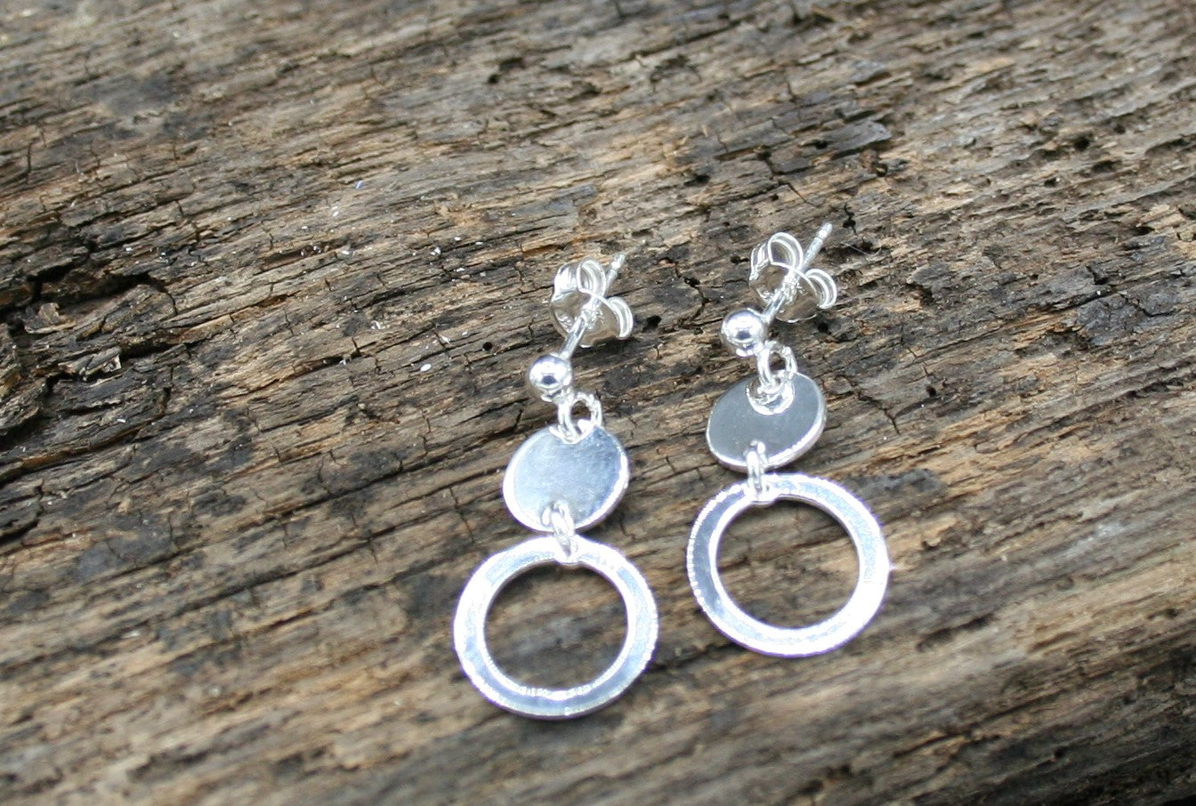 Sterling Silver Polished disc polished ring drop earrings on posts with butterfly clasp 6mm and 11mm