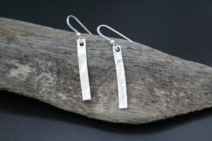 Sterling Silver hammered finished drop earrings on wires 30mm x 4mm x .5mm
