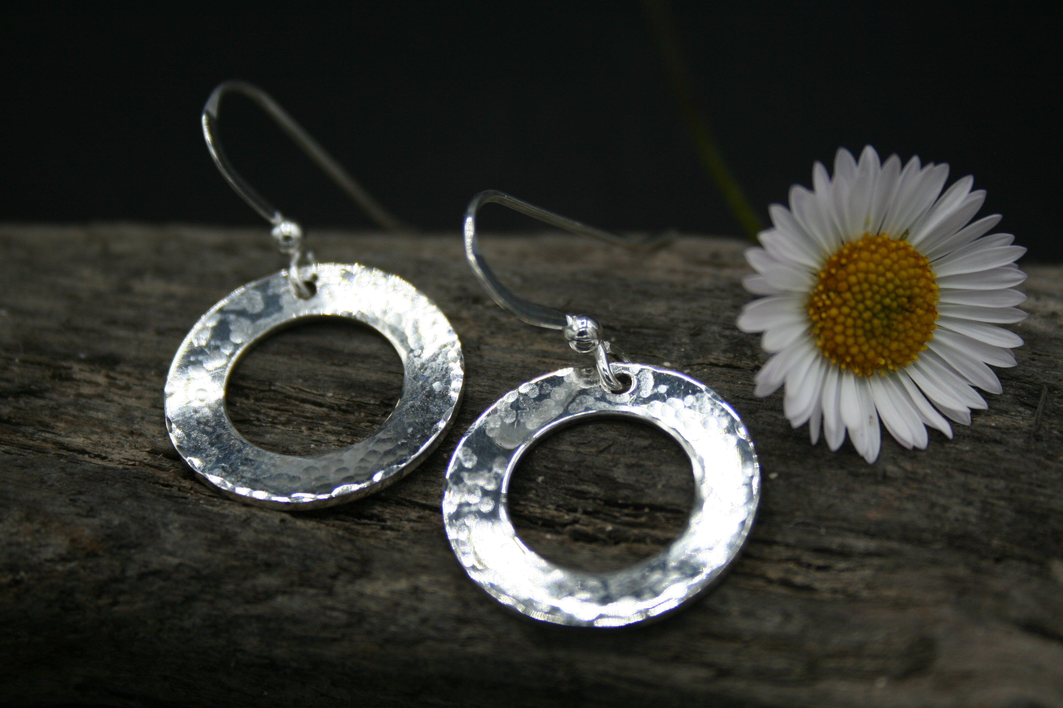 Sterling Silver round washer hammered finish drop earrings on wires 25mm x.8mm