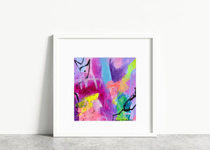 Small abstract painting on paper with bright neon colors