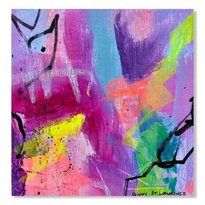 Close up of Small abstract painting on paper with bright neon colors