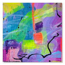 Load image into Gallery viewer, Close up of a Small abstract painting on paper with bright neon colors