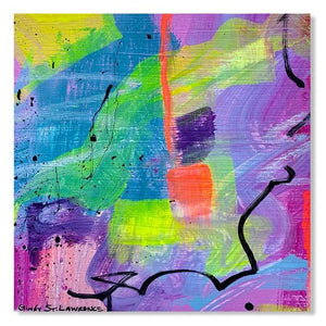 Close up of a Small abstract painting on paper with bright neon colors