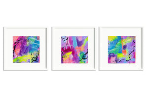 3 Small abstract paintings on paper with bright neon colors