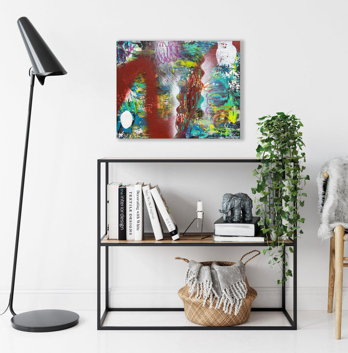 Ginny-St-Lawrence-Art-abstract-art-hanging-above-bookcase-with-plant