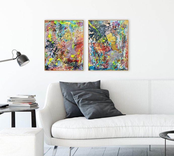 Ginny-St-Lawrence-Two-vibrant-expressive-abstracts-hanging-in-work-space