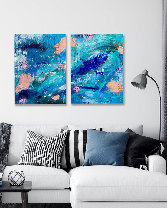 Therapeutic Reality Diptych - Original Abstract Art-GINNY ST. LAWRENCE