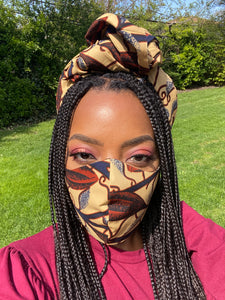 Custom African print Face Mask and Headwrap