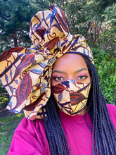 Load image into Gallery viewer, Custom African print Face Mask and Headwrap