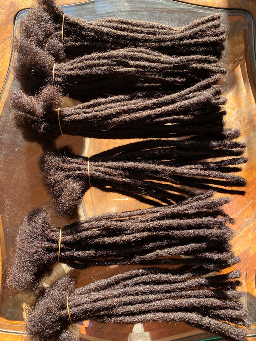 120 Locs in Darkest Brown .5cm thick 10in long