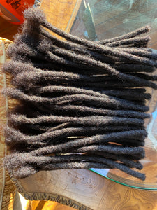 60 locs in Darkest Brown .8-1cm thick 10in long
