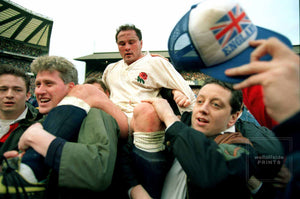 Brian Moore carried by fans - England v Wales - 1992