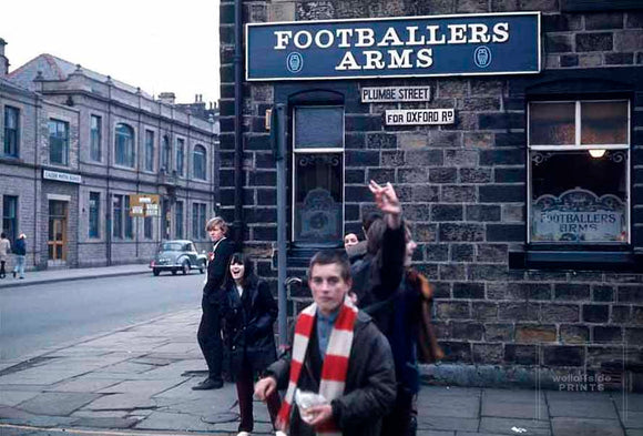 4th February 1967 - Burnley v Manchester United - Football League Division One  Supporters outside the Footballers Arms public house near to Turf Moor.  Photo by Gerry Cranham / Offside Sports Photography