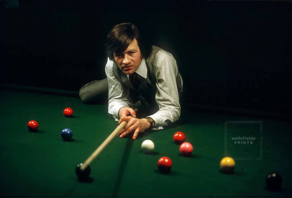 Alex Higgins - 19th February 1973  Portrait  Photo by Gerry Cranham (All rights reserved)  Limited edition of 25 numbered/embossed prints.