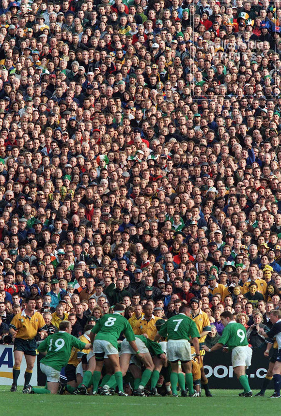 10th October 1999 Rugby World Cup - Ireland v Australia - Fans watch from the terraces at Lansdowne Road.  Photo by Mark Leech / Offside Sports Photography  Limited edition of 100 numbered/embossed prints.