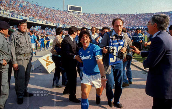 10th May 1987 - Naples: Serie A Calcio - Napoli v Fiorentina  Diego Maradona celebrates as Napoli win their first ever Italian Football Championship title.  Photo by Mark Leech / Offside Sports Photography (all rights reserved)  Limited edition of 50 numbered/embossed prints.