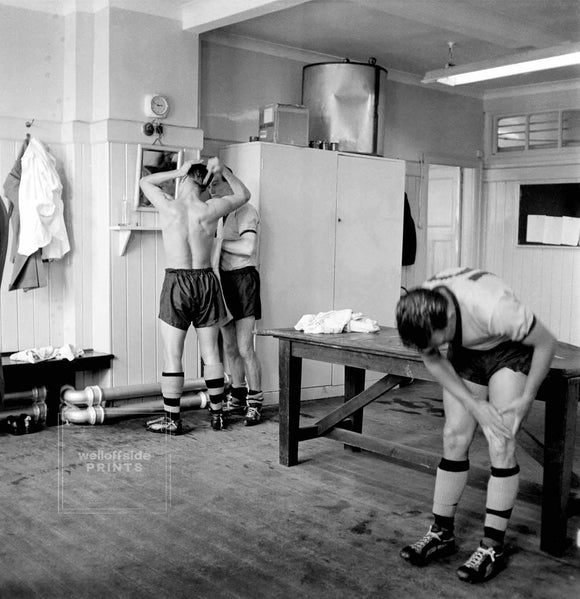 29th August 1959 - English Football League Division One - Wolverhampton Wanderers v Arsenal  The Wolves players prepare themselves in the changing room prior to kick off  Photo by Gerry Cranham (All rights reserved)  Limited edition of 50 numbered/embossed prints