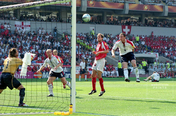 17th June 2004 - Euro 2004 - Group Stage - England v Switzerland - Wayne Rooney of England scores the opener.   Photo by Mark Leech / Offside Sports Photography  Limited edition of 100 numbered/embossed prints.