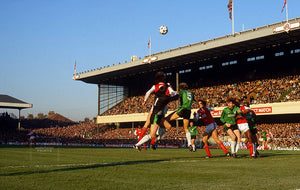 31st January 1987 - London, FA Cup fourth round - Arsenal v Plymouth Argyle - goalmouth action at Highbury.  Photo by Mark Leech / Offside Sports Photography  Archival Giclee print with a fine art pearl finish.  Limited edition of 50 numbered/embossed prints at size 22in x 16in.  Limited edition of 50 numbered/embossed prints in size 28in x 20in.  SELECT SIZE FROM THE DROP-DOWN LIST