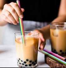 Load image into Gallery viewer, Rainbow Stainless Steel Bubble Tea Straw Boba