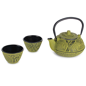 Green Cast Iron Set with Bamboo Leaves