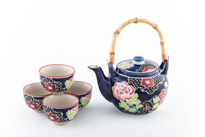 Dark Blue Ceramic Tea Set with Bamboo Handle