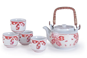 White Tea Set with Red Flowers