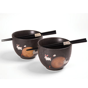 Noodle Bowls and Chopsticks for 2