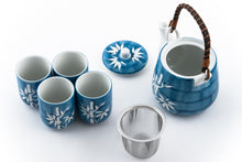 Load image into Gallery viewer, Blue Ceramic Tea Set with White Bamboo
