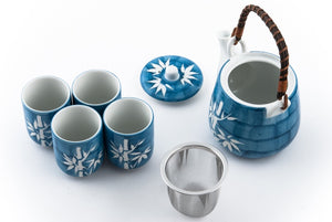 Blue Ceramic Tea Set with White Bamboo