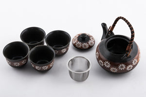 Black Tea Set with Amber Stripe and White Flowers