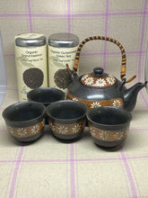 Load image into Gallery viewer, Black Tea Set with Amber Stripe and White Flowers