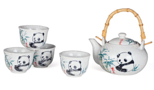 White Ceramic Tea Set with Panda