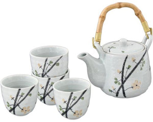 White Speckled Tea Set with Flower Branches