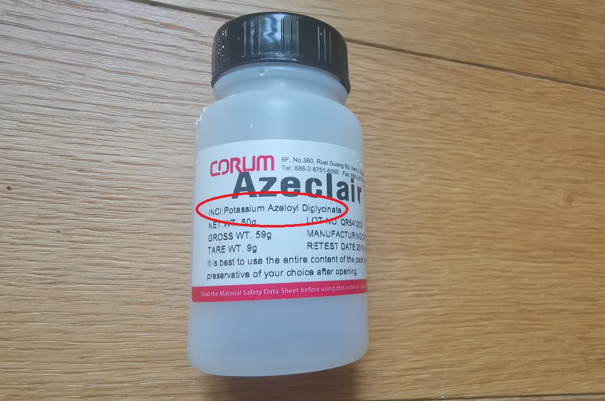 Azeclair sample stating INCI is potessium azeloyl diglicinate