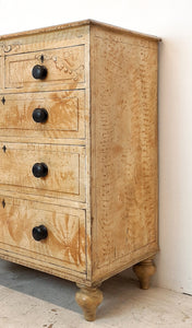Antique pine drawers with faux Birdseye maple grain