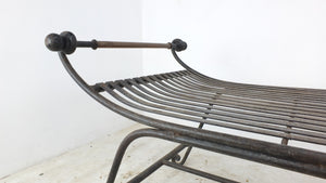Mid century wrought iron and brass garden bench