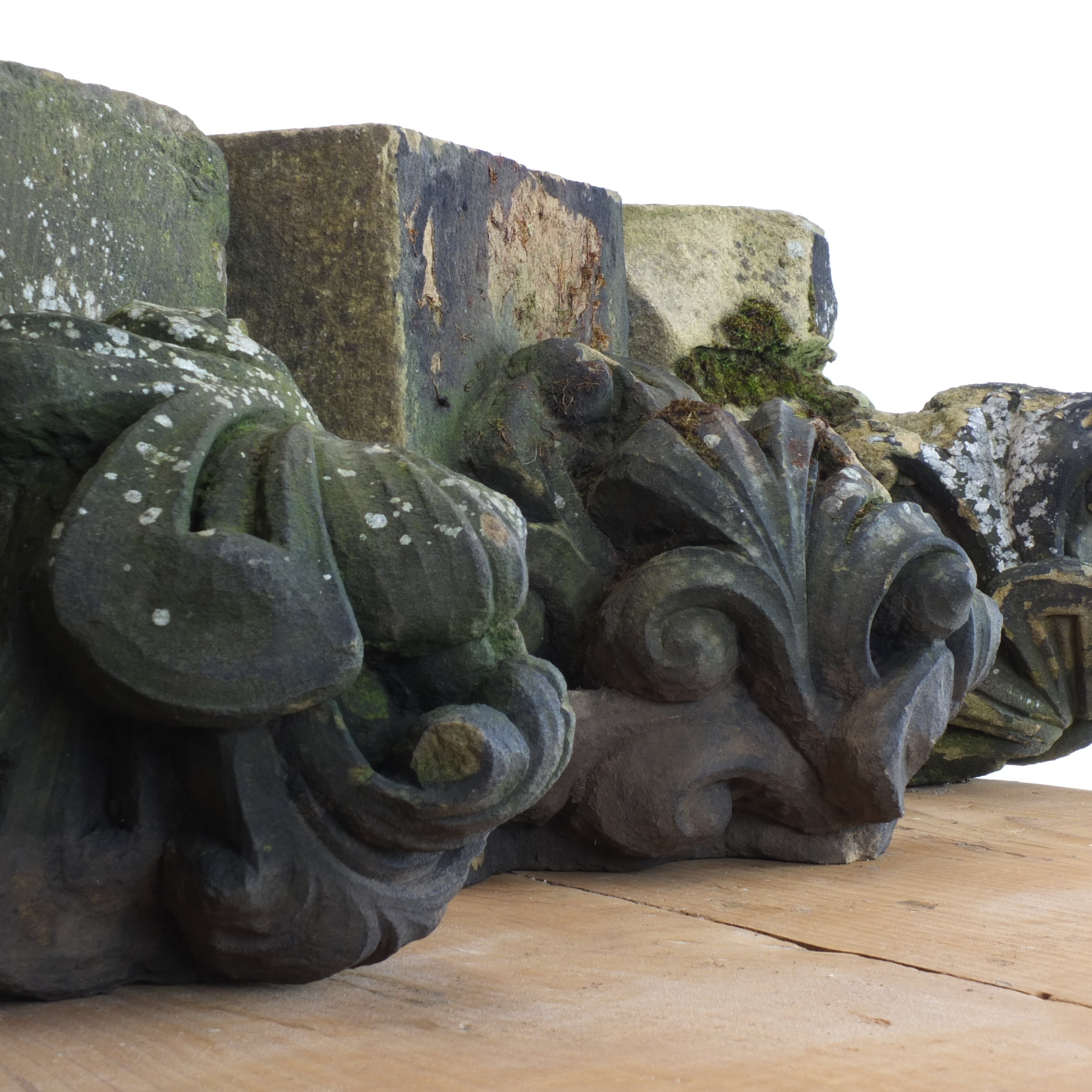 19th century hand carved sandstone corbels