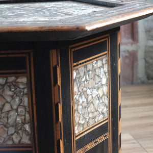 Antique moorish mother of pearl side table