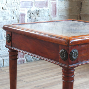 Marble top fruit wood side table