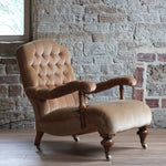 Load image into Gallery viewer, Victorian gold velvet open arm chair