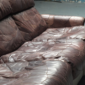 Mid century patchwork leather model sofa and chair