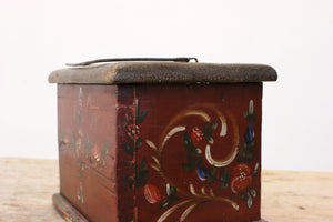 Folk art pine box, foot warmer c1810