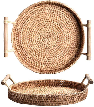 Load image into Gallery viewer, Rattan Round Serving Basket