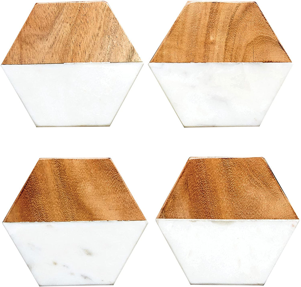 Marble and Natural Mango Wood Coasters (Set of 4)