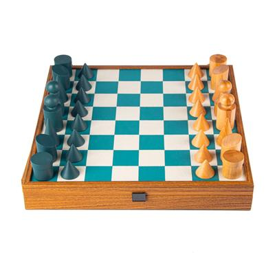 Load image into Gallery viewer, Chess Set Bauhaus Style Turqoise
