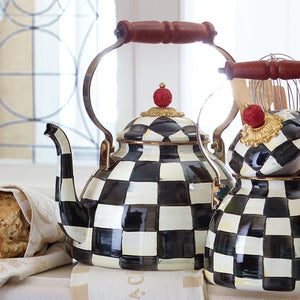 Courtly Check Enamel Tea Kettle